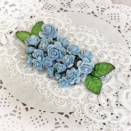 Mini Dusty Blue Mulberry Paper Roses Set