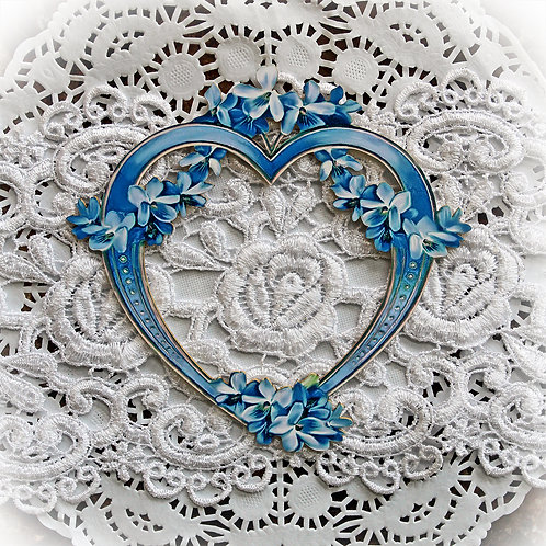Printed Beautiful Board Small Blue Lilac Heart Frame Laser Cut Chipb