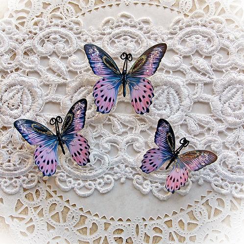 Astrial Pink Premium Paper Glitter Glass Butterflies