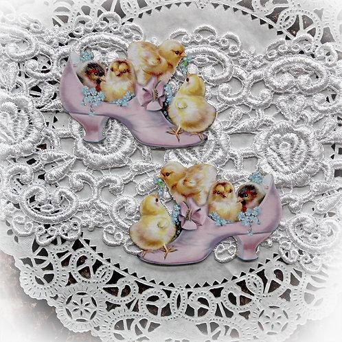 Vintage Sweet Baby Chicks In Shoe Die Cut Set~Pink