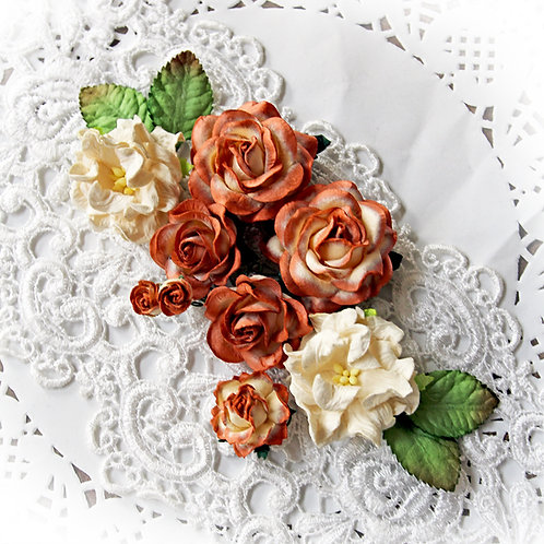 Cinnamon And Sugar Roses Gardenias Mulberry Paper Flower Set