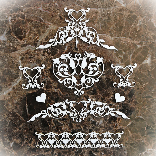 Beautiful Board Small Romantic Heart Pattern Laser Cut Chipboard