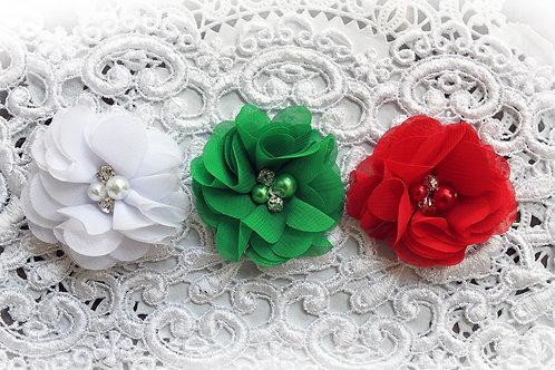 Christmas Chiffon Pearl & Rhinestone Flowers