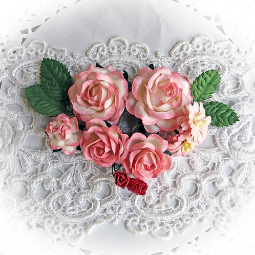 Candy Pink And White Roses And Leaves Mulberry Paper Flowers