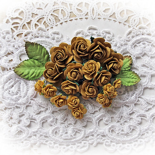 Mini Old Gold Mulberry Paper Roses and Leaves Set