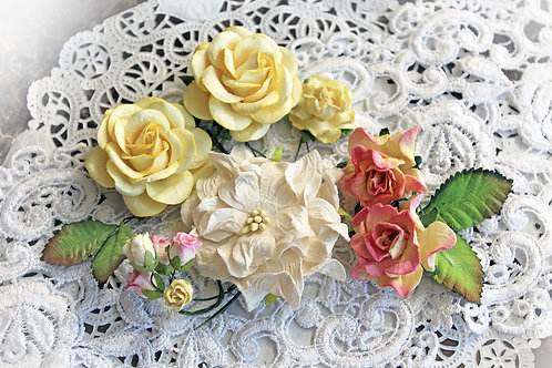 Pink Lemonade Curly Roses Mulberry Paper Flowers