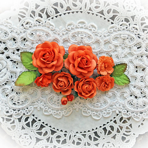 Orange Roses and Leaves Mulberry Paper Flowers