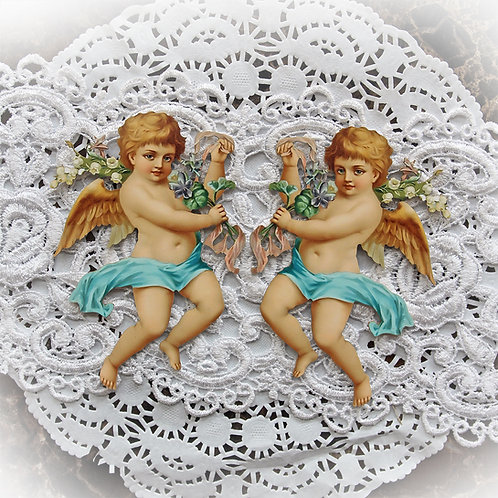 Printed Beautiful Board Small Vintage Cherub 2 Laser Cut Chipboard