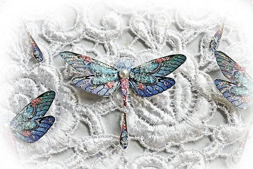 Tiny Treasures Fenton Art Glass Premium Paper Glitter Glass Dragonflies