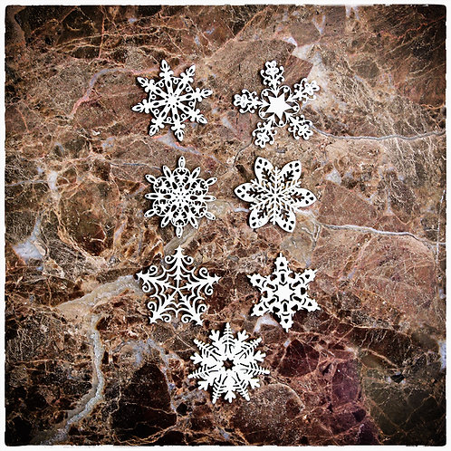 Beautiful Board Medium Vintage Snowflakes Set Of 7 Laser Cut Chipboard