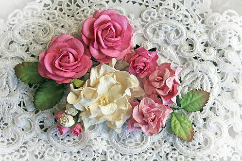 Dark Pink & White Curly Roses Mulberry Flowers Set