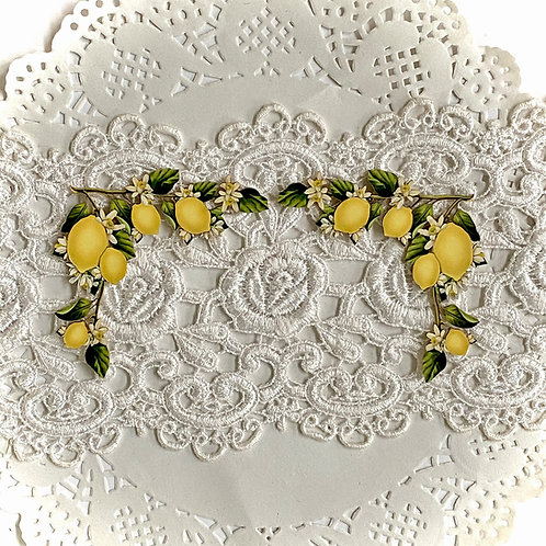Printed Beautiful Board Tiny Lemon Blossom Corners Chipboard