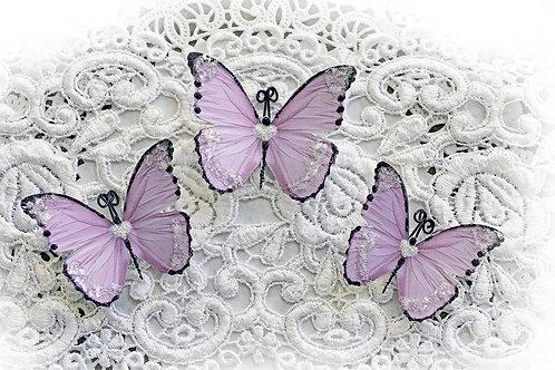 Sweetheart Lavender Premium Paper Glitter Glass Butterflies