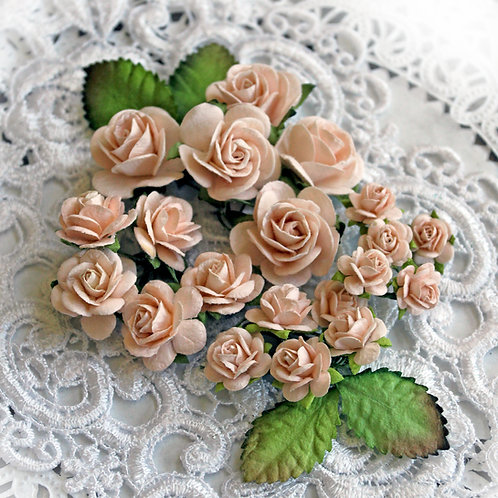 Mini Soft Peach Mulberry Paper Roses & Leaves Set