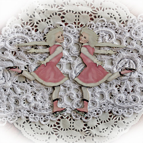 Printed Beautiful Board Large Reneabouquets Ice Skater Laser Cut Chipboard Die C