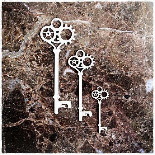 Beautiful Board Clockwork Keys Laser Cut Chipboard Key Set Of 3