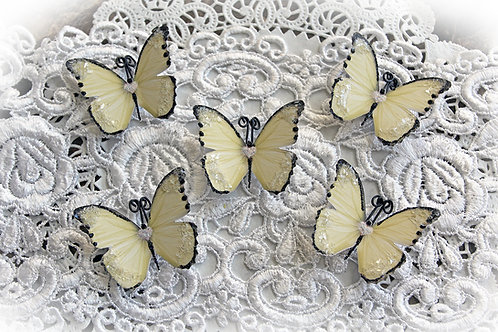 Tiny Treasures Sweetheart Soft Yellow Premium Paper Glitter Glass Butterflies