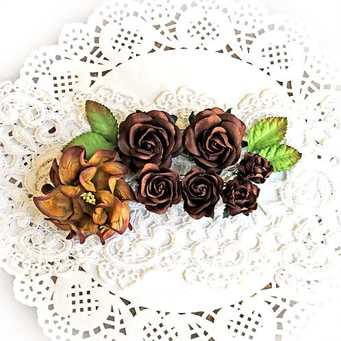 Dark Brown Roses Gardenias Mulberry Paper Flower Set