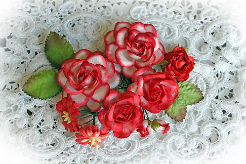 Red & White Roses & Leaves Mulberry Paper Flower Set
