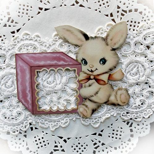 Printed Beautiful Board Baby Blocks Bunny Frame Chipboard