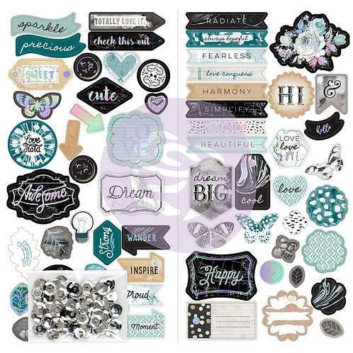 Prima Zella Teal Collection Chipboard