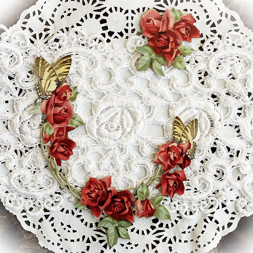 Printed Beautiful Board Trellis Rose Open Frame Laser Cut Chipboard Die Cut