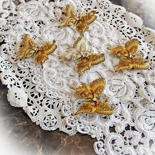Tiny Treasures Elegant Gold Glitter Glass Wing  Premium Paper Body Butterflies