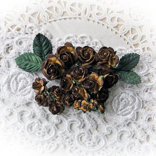 Mini Chocolate Covered Caramel Mulberry Paper Roses and Leaves Set