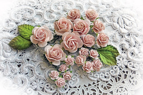 Mini Dusty Pink Mulberry Paper Roses & Leaves Set
