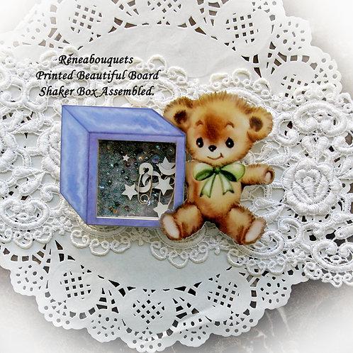 Printed Beautiful Board Baby Blocks Bear Shaker Box Chipboard