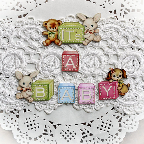 Printed Beautiful Board Small Baby Blocks It's A Baby Chipboard