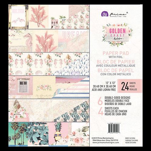 Prima Golden Coast 12 x 12 Paper Pad With Foil Details