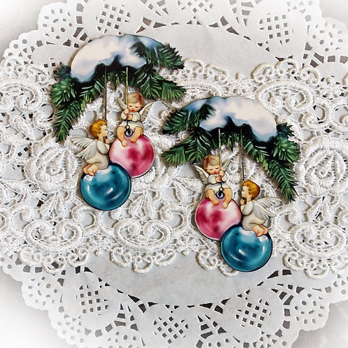 Printed Beautiful Board Small Angel Ornaments Shabby Chipboard