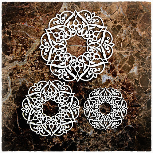 Beautiful Board April In Paris Doily Two Set Of 3 Laser Cut Chipboard