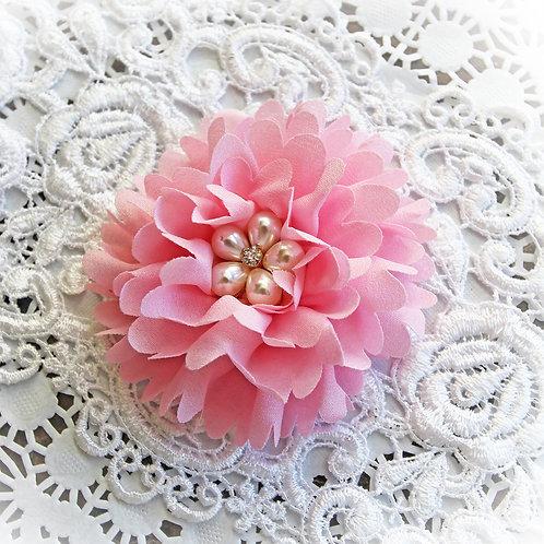 Large Pink  Chiffon, Pearl And Rhinestone Flower