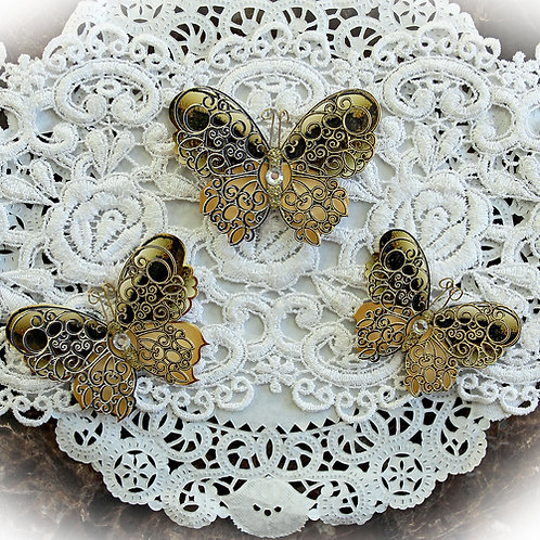 Gold Flourish Double Layered Premium Paper Butterflies Crystal Or Pearl Accents