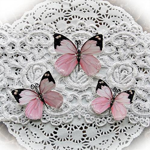 Aurora Borealis In Pink Premium Paper Glitter Glass Butterflies
