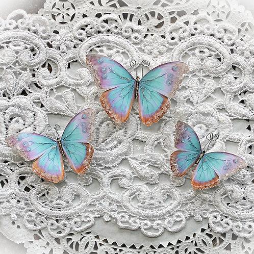 Watercolor Spun Sugar Glitter Glass Premium Paper Butterflies