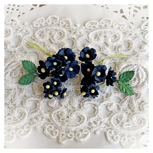 Itty Bitty Blossoms and Leaves Navy Blue Mulberry Paper Flowers