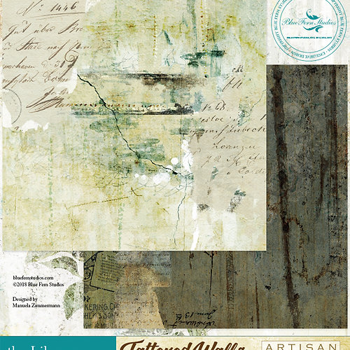 Blue Fern Tattered Walls Collection 20 Papers