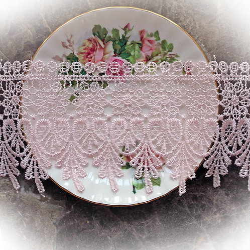 Venetian Embroidered Lace~3 1/4 Inch Wide In Pink