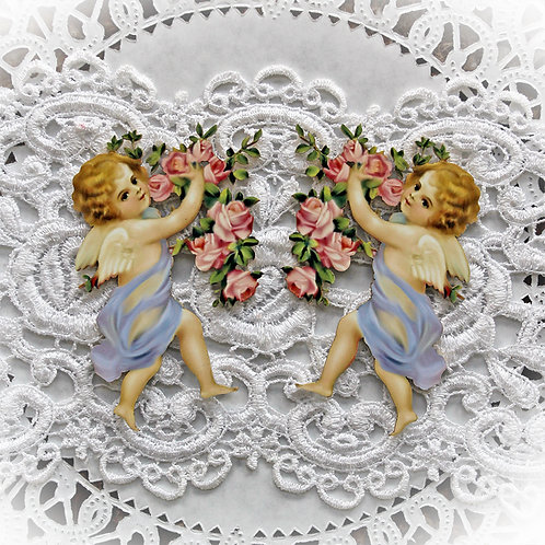 Printed Beautiful Board Romance And Roses Large Lavender Cherub