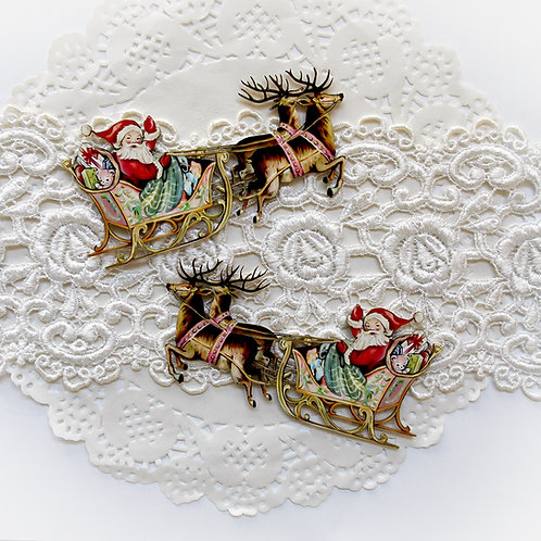 Printed Beautiful Board Large Santa's Sleigh  Laser Cut Chipboard