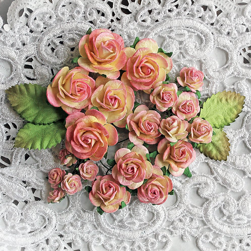 Mini Pink Lemonade Mulberry Roses & Leaves Set