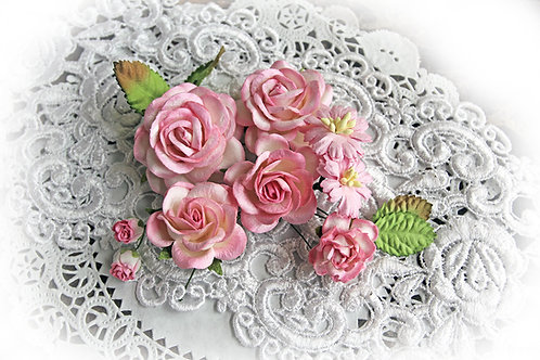 Pink & White Roses & Leaves Mulberry Paper Flowers
