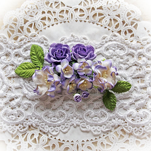 Purple Spring Mix Mulberry Paper Flower Set