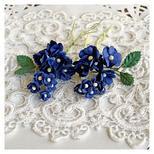 Itty Bitty Blossoms and Leaves Royal Blue Mulberry Paper Flowers