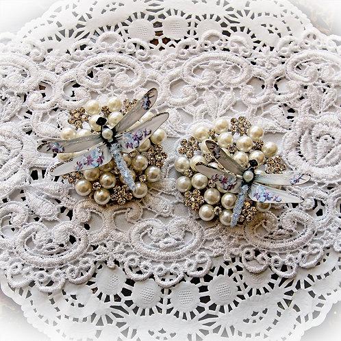 Shabby Blue Roses Premium Paper Glitter Glass Dragonflies
