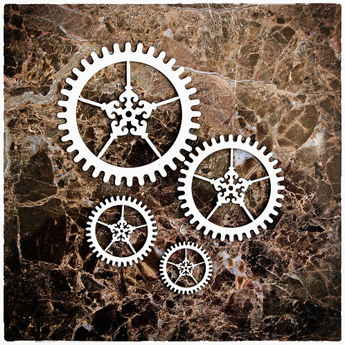 Beautiful Board Ornament Gears Set Of 4 Laser Cut Chipboard