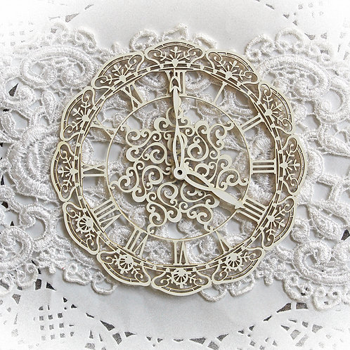 Beautiful Board Small Victorian Snowflake Clock Laser Cut Chipboard